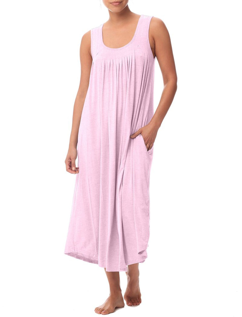 Modal Soft Pleat Front Maxi Nightie - Ruby Pink