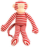Striped Monkey Toy Rattle Red