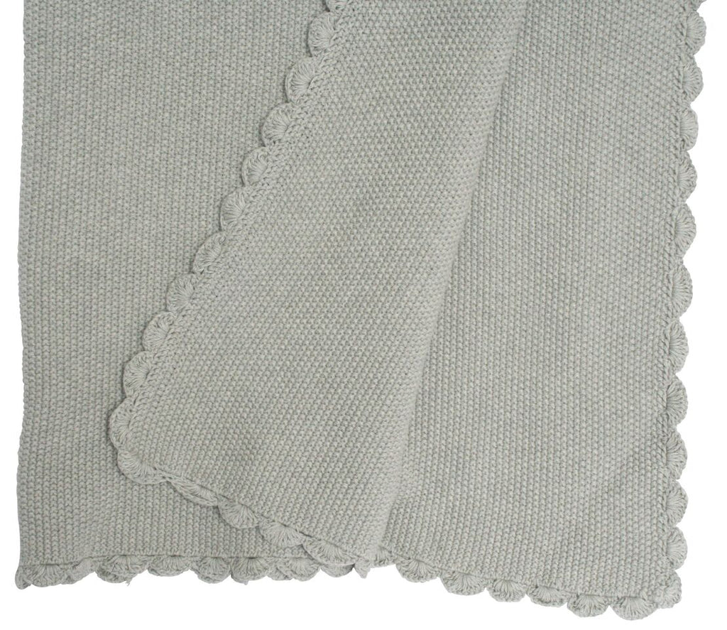 Organic Cotton Moss Stitch Blanket - Grey