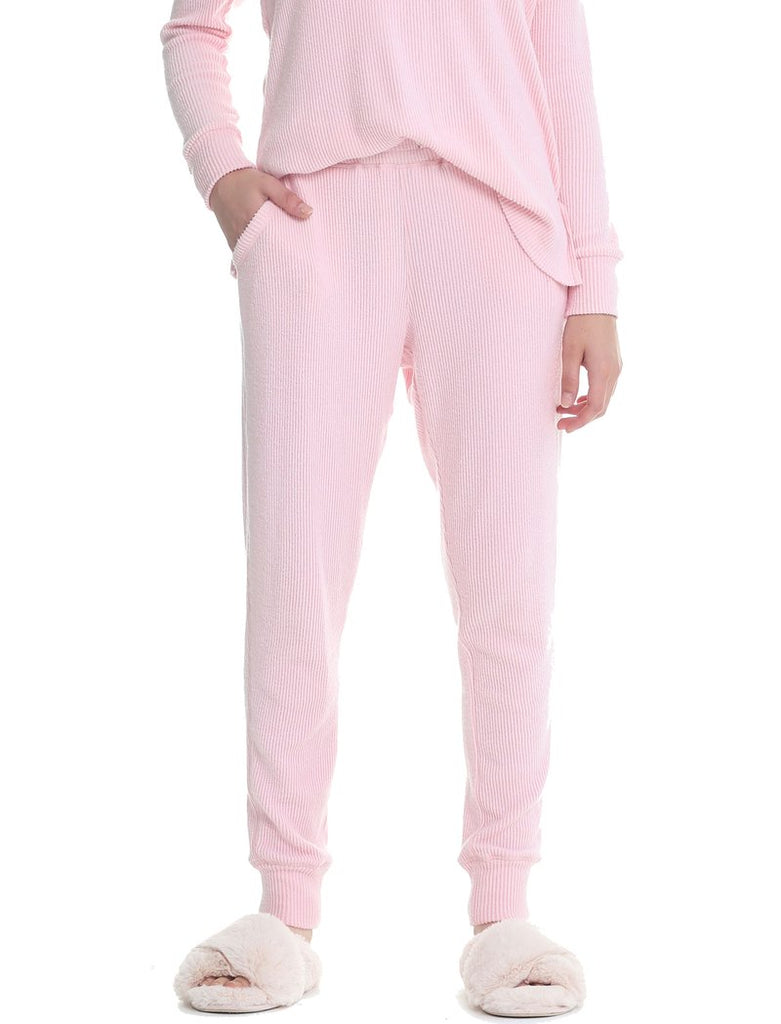 SOFT TOUCH RIB PANT - MISTY PINK