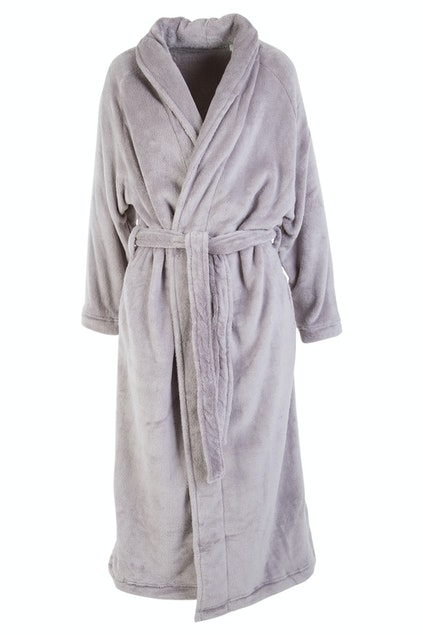 Plush Wrap Dressing Gown - Mink / Rose Red