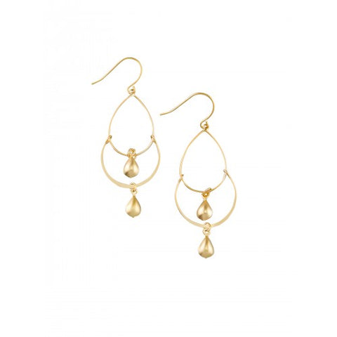 GOLD TIPPED FEATHER STONE EARRING