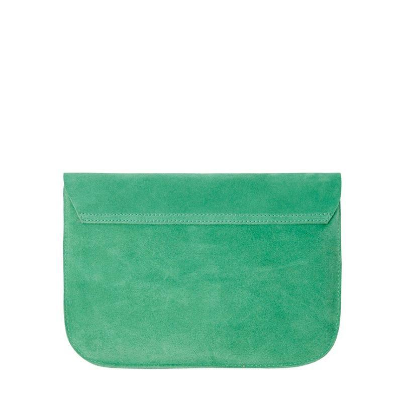 Ella Leather Pouch - Green Suede