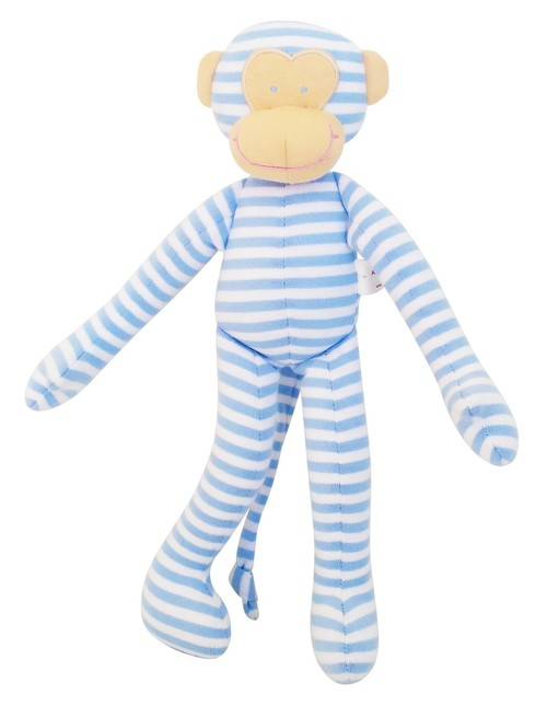 Striped Monkey Toy Rattle - Pale Blue