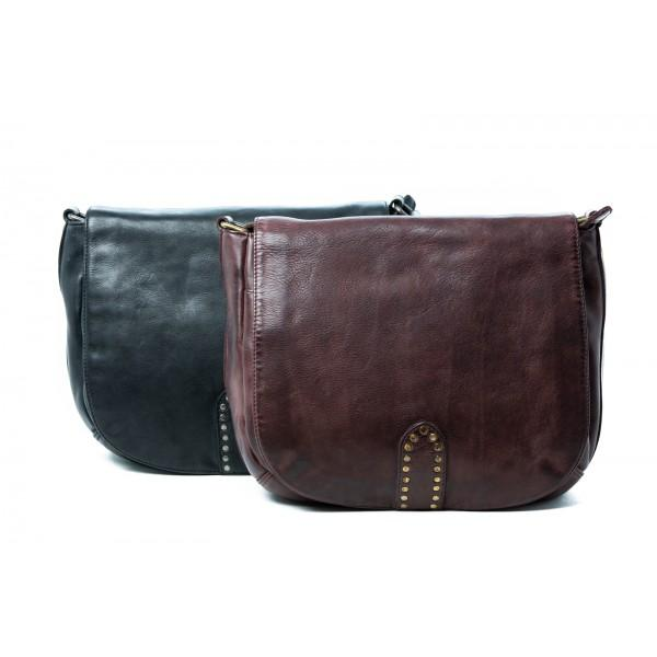 Raven Cross Body Leather Bag - Black