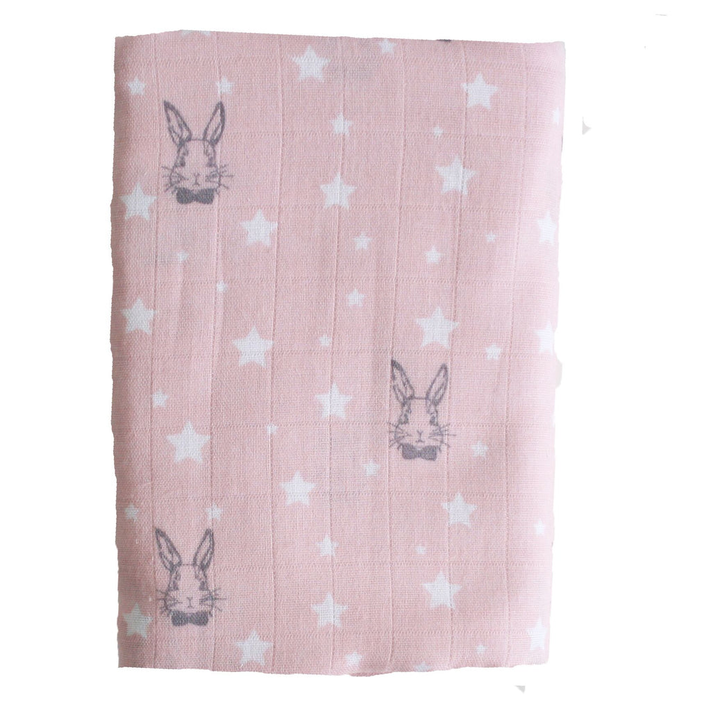 MUSLIN SWADDLE - STARS & BUNNIES PINK