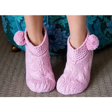Cable Knit Slouchy Slippers - Pink
