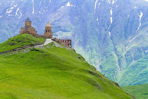 Ancient Gergeti Trinity Church High In The Mountains