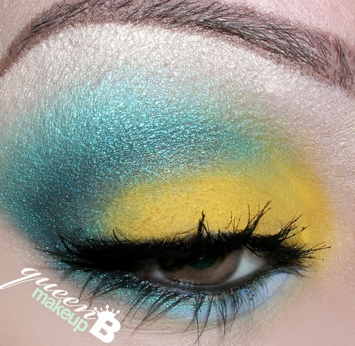 QueenBMakeup's Legacy: Corn Yellow & Teal Blue (BTFE Cosmetics)