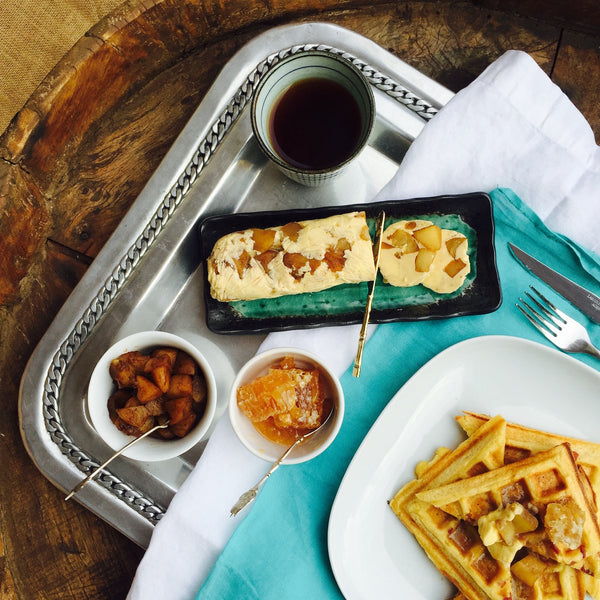 Bacon, buttermilk waffles with cinnamon apple butter and honeycomb
