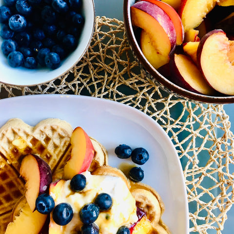 RECIPE: Nectarine, blueberry and passionfruit butter waffles