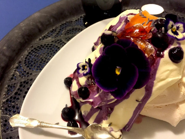Lavender Meringue with Violets, Turkish Delight and Blueberry Cream