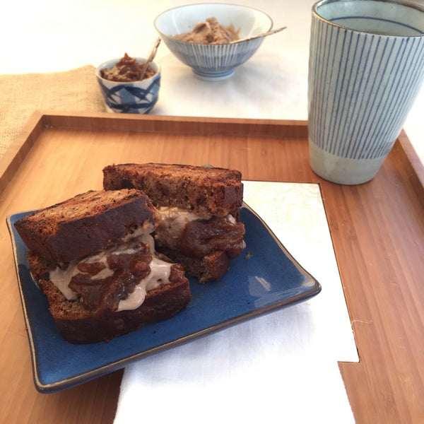date and walnut, banana bread, ice cream sandwiches with home-made, cinnamon ice cream and date, caramel sauce