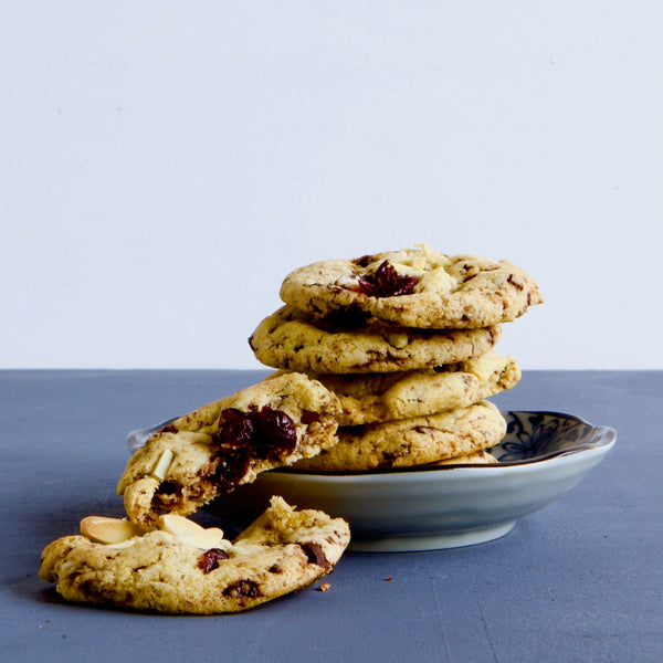 Dark chocolate, cranberry & almond cookies, Vegan, dairy free, nut free, gluten free