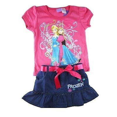 Disney Frozen Anna and Elsa Denim Skirt/Top Set (Pink or purple)