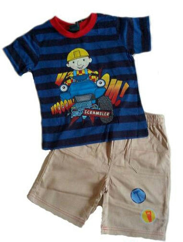 Bob the Builder 2 Piece Stripe Tee and Khaki Shorts