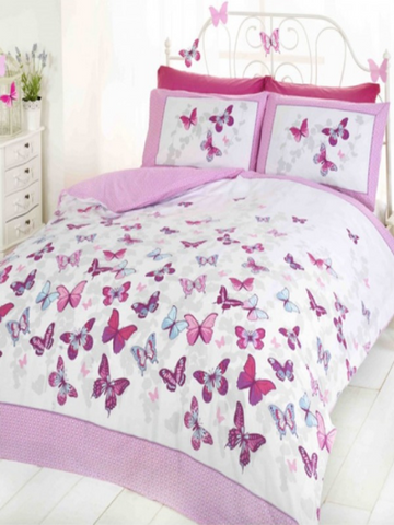 Butterfly Flutter Single Duvet/Quilt Cover Set | Pink
