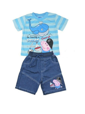 George Pig Ahoy Blue Stripe Tee and Shorts