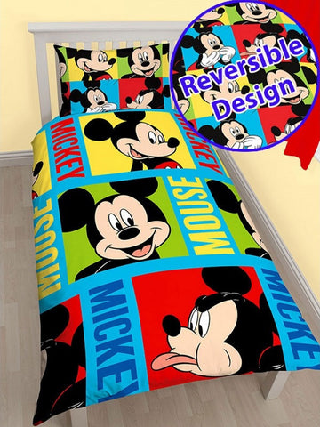 Mickey Mouse 'Bright' Single Duvet/Quilt Cover Set