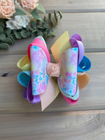 Egg Splatter Dye Multicolor Hair Bows - LilaReneeCreations