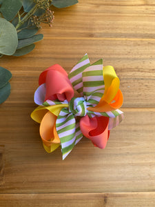 Citrus Summer Stripe Multicolor Hair Bow - LilaReneeCreations