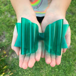 Green clear jelly splash bow - LilaReneeCreations