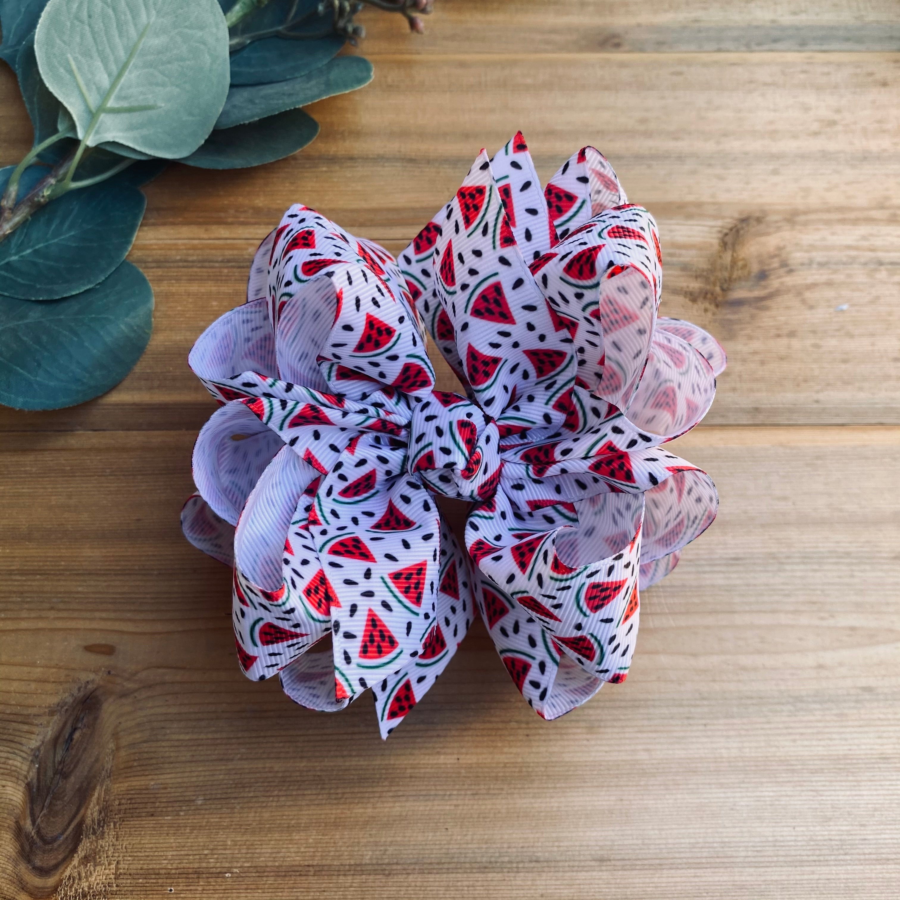 Watermelon Slices Print Hair Bows - LilaReneeCreations