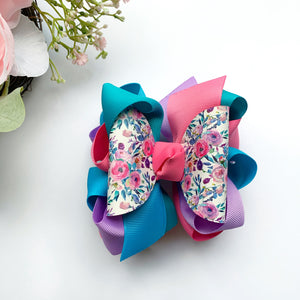 Peony Bouquet Multicolor L&E Hair Bow