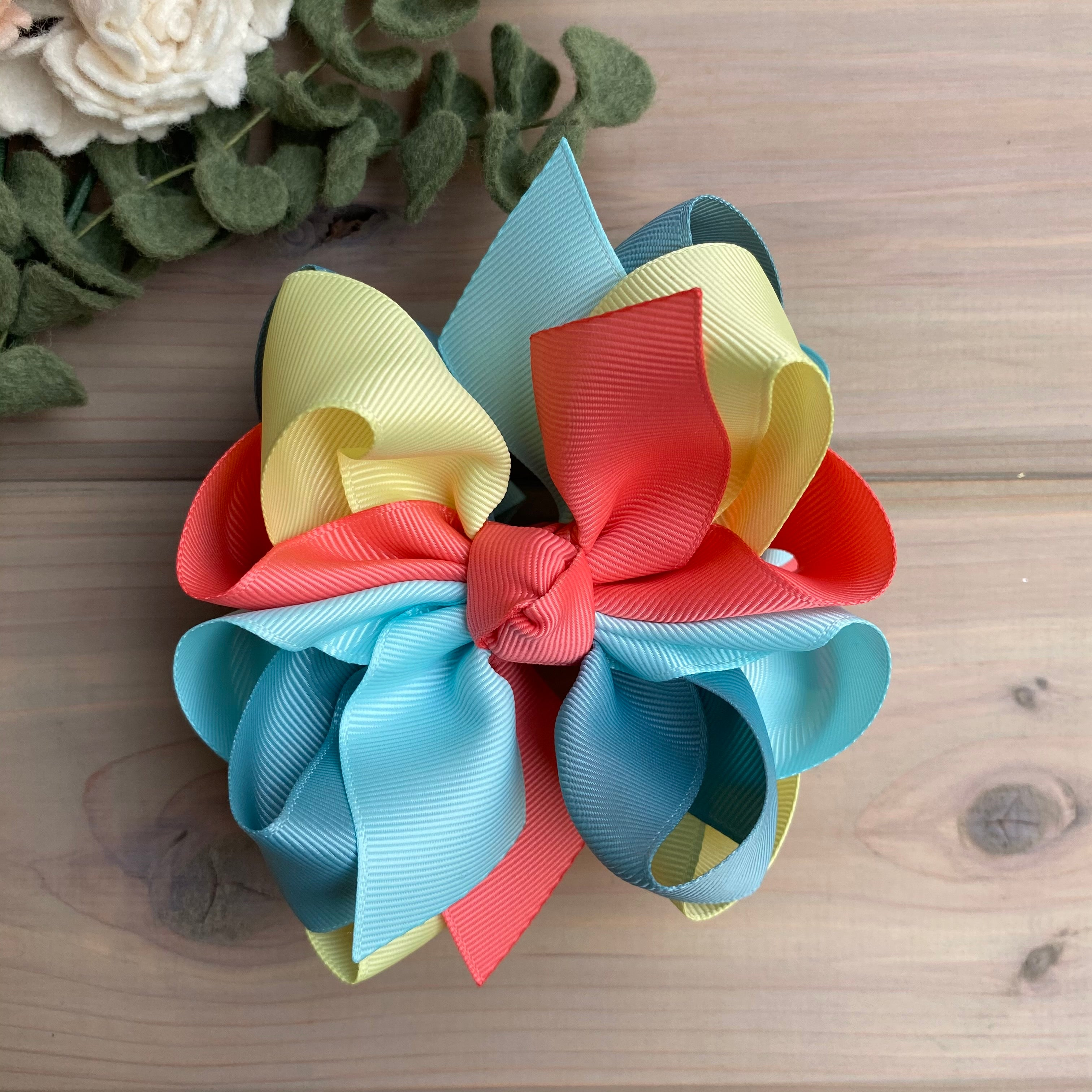 Coral Rose Multi Hair Bow - LilaReneeCreations