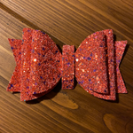 "RTS 5.5"" Hot red glitter  Olivia Bow"