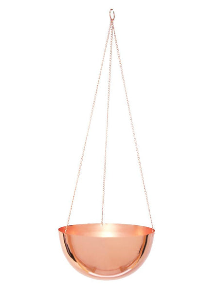 Indoor copper hanging planters