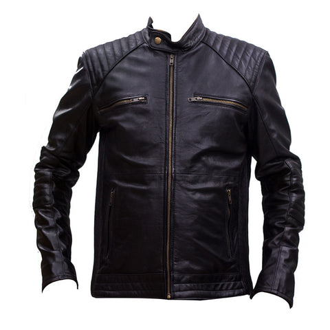 Leather Jacket With 4 Front Zipper Pockets
