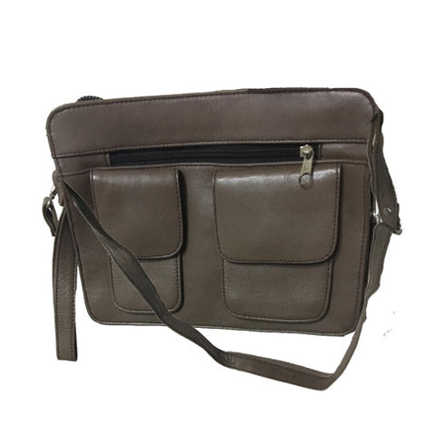 Leather File Bag With 2 Front Pockets