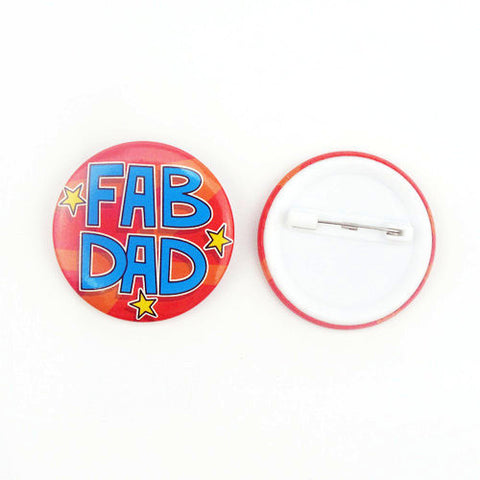 Fab Dad Printed Button Badge