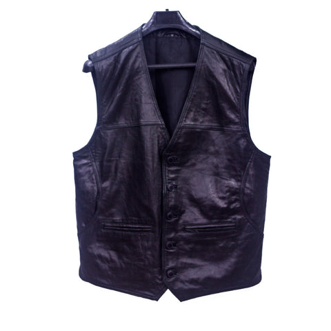 Leather Vest Coat With 2 Pockets