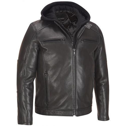 Black Hoodie Leather Jacket