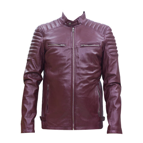 Leather Jacket With Collar Button