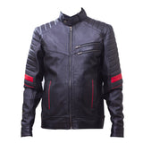 Leather Sports Bike Jacket 2 Zipper Pockets