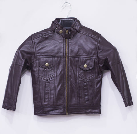 Leather Jacket With 2 Front Button Pocket