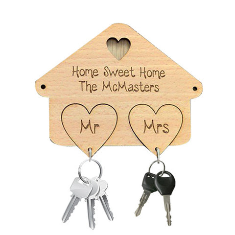 Home Sweet Home Wooden Keychain