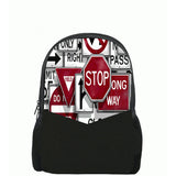 Stop Wrong Way Printed Backpacks