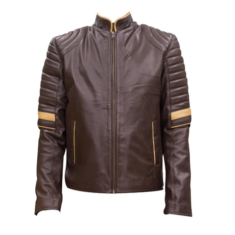 Leather Jacket With Yellow Strip