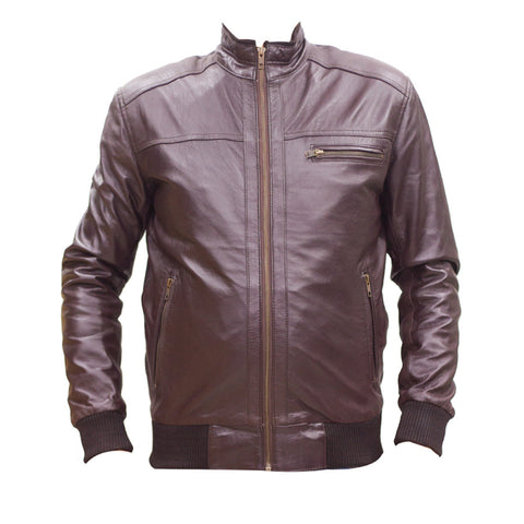 Leather Jacket With Front Zipper Pocket