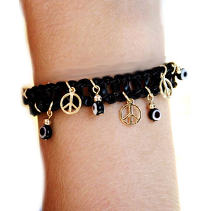 "Bracelet cuir ""Peace and Love et Oeil""-O-Judaisme"