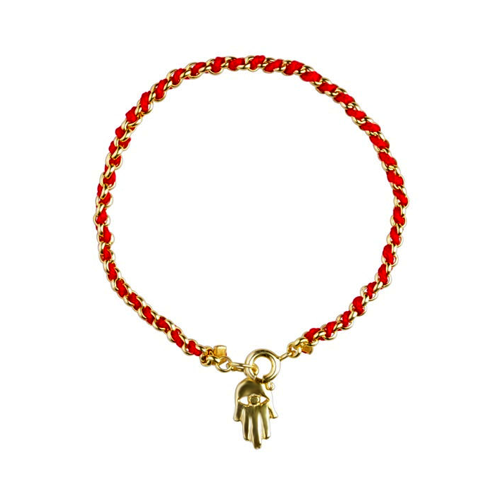 Bracelet fil rouge et or - Main-O-Judaisme