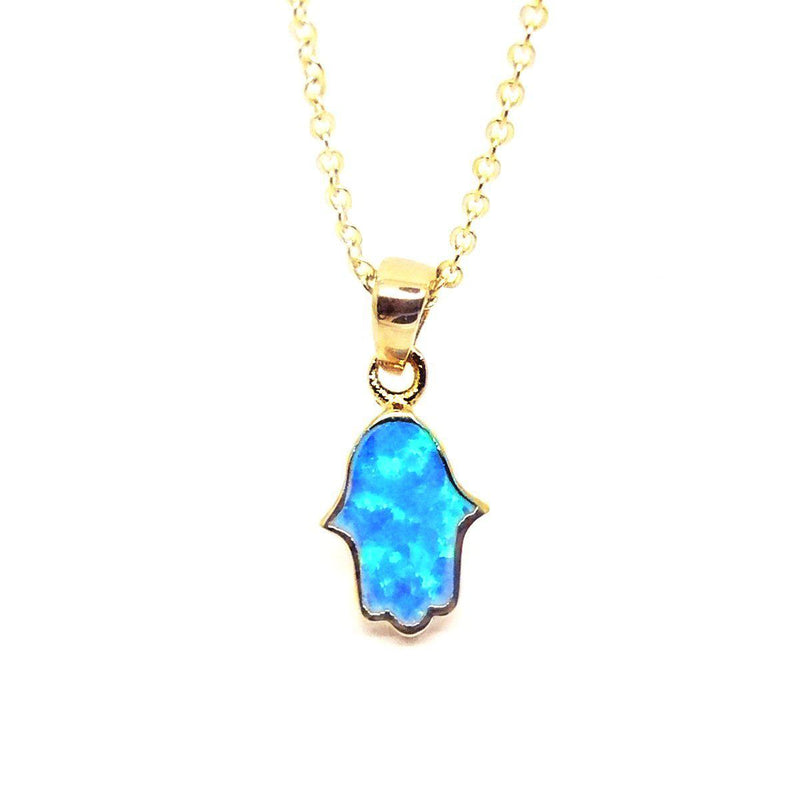 Collier Hamsa d'Or et d'Opale-O-Judaisme
