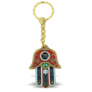"Grand porte-clés Hamsa rouge ""MAZAL""-O-Judaisme"
