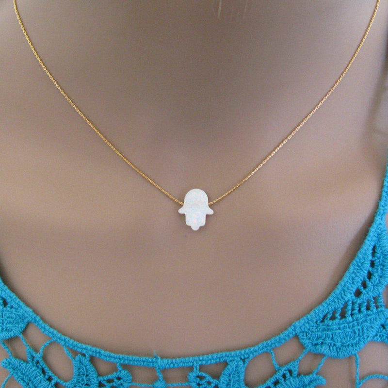 Hamsa Opaline Blanche Chaine Goldfiled-O-Judaisme