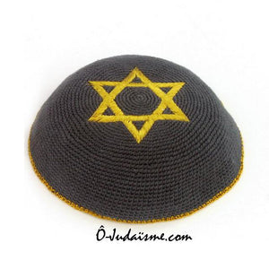 Kippa au crochet - Grise et Etoile de David d'or-O-Judaisme
