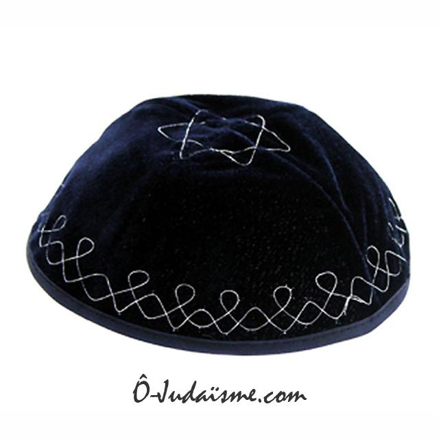 Kippa velours - Bleu arabesques argent-O-Judaisme